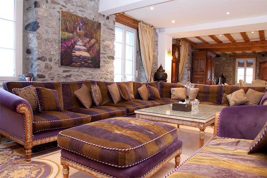 Beige Purple Living Room Design Ideas, Photos ...