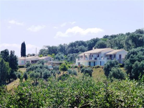 Villa from the opposite hillside (on left)
