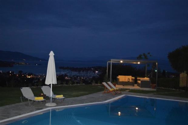 view from the pool down to Gouvia Marina at night