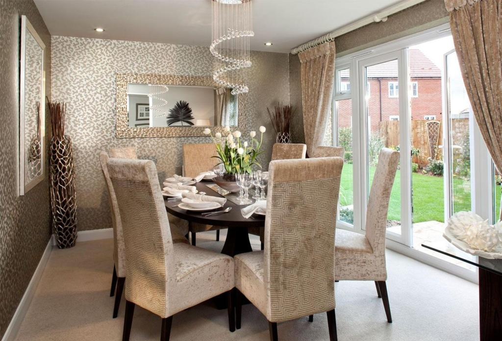 Wallpaper dining room design ideas photos inspiration for Dining room designs uk
