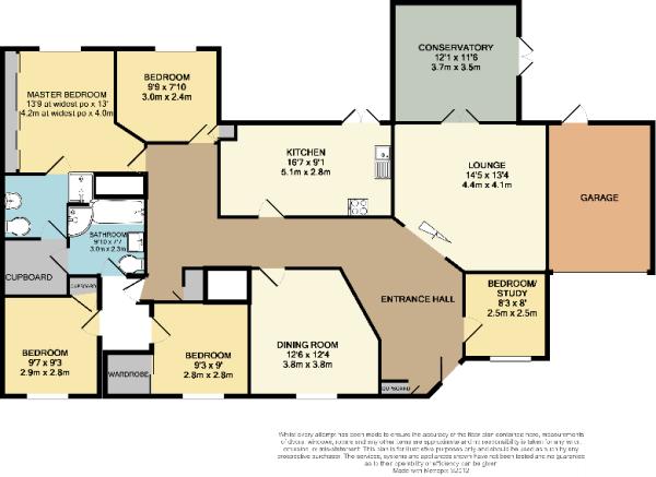 Floor Plan  5 bedroom detached bungalow for sale in 12 Dunvegan Gardens. Five Bedroom Bungalow Floor Plan