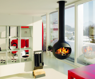 photo of contemporary red white diligence international focus fire living room with white cupboards fireplace suspended fire wood burner