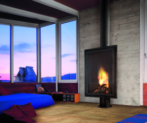 photo of comfortable contemporary relaxing blue purple diligence international focus fire bedroom living room with wood burner