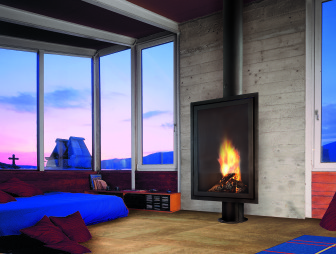 photo of comfortable contemporary relaxing blue purple diligence international focus fire bedroom living room with fireplace wood burner
