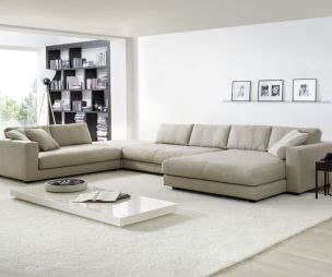photo of contemporary designer large neutral open plan cream grey hello of mayfair living room and corner sofa couch