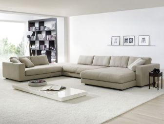 photo of contemporary designer large light and airy modern neutral open plan cream grey hello of mayfair living room and corner sofa couch