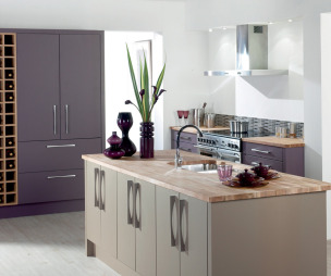 photo of colourful lilac premier kitchens kitchen with wooden worktop worktop and furniture wine rack