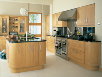 photo of airy clean lines designer light modern spacious oak wood curved edge premier kitchens kitchen with oak kitchen lampshade lampshades and cooker furniture wine rack