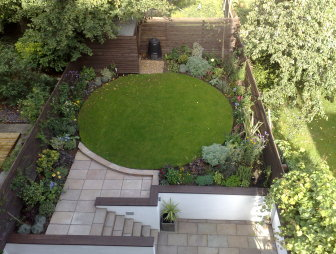 photo of contemporary split level paving stones circle circular robert james landscapes garden with steps and landscaped lawn patio