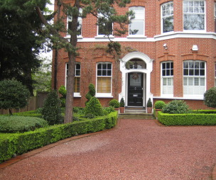 photo of robert james landscapes garden and front garden landscaped resin bond driveway topiary