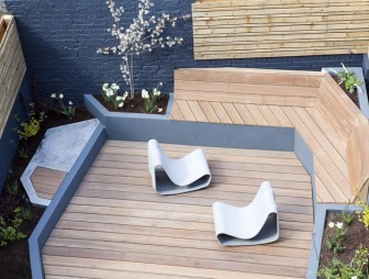 photo of asian contemporary designer blue robert james landscapes garden with flooring wooden floor and decked seating decking outdoor furniture planting urban garden