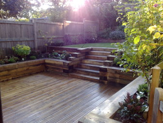Decking garden design ideas photos inspiration for Garden decking borders