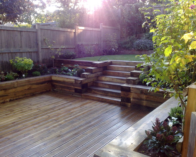 Robert james landscapes design ideas photos inspiration for Garden decking borders