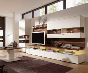 photo of taupe white oak walnut living room and display cabinet german furniture