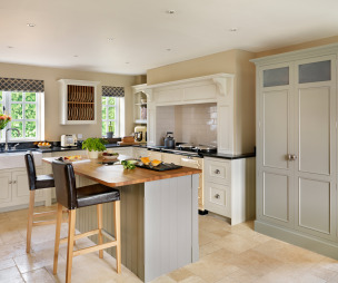 Kitchen With Breakfast Bar Open Cupboards Island And Aga Bar Stools
