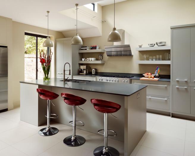 maroon harvey jones kitchen kitchen area with breakfast bar island
