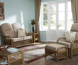 photo of rattan garden furniture centre conservatory with floor tiles and furniture