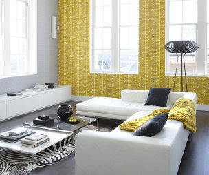 photo of colour contemporary funky retro stripes grey yellow wallpaper