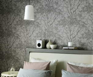 Feature wall design ideas photos inspiration for Grey bedroom wallpaper