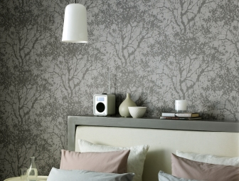 Feature wall bedroom design ideas photos inspiration for Grey feature wallpaper bedroom