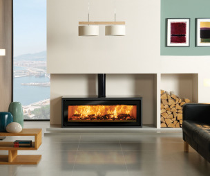 photo of contemporary designer modern stylish warmth stovax living room sitting room with alcove high efficiency fire log burner wood burner