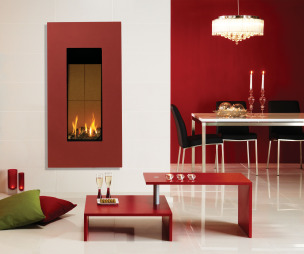 photo of colour colourful funky modern open plan warmth red white stovax diner hallway living room living/dining room lounge sitting room with chandelier gas fire high efficiency fire