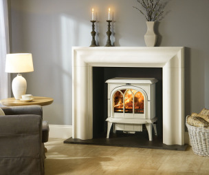 photo of colour traditional warmth grey wall colour white stovax living room lounge sitting room with wood burning stove inglenook log burner wood burner and stove
