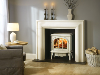 photo of traditional warmth white stovax living room lounge sitting room with wood burning stove inglenook log burner wood burner and stove