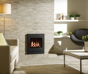 photo of warmth beige grey stovax living room sitting room with gas fire fireplace high efficiency fire and designer chair