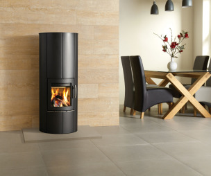 photo of contemporary cool stylish warmth black grey white woodgrain stovax living room sitting room with wood burning stove fireplace log burner wood burner and stove unit