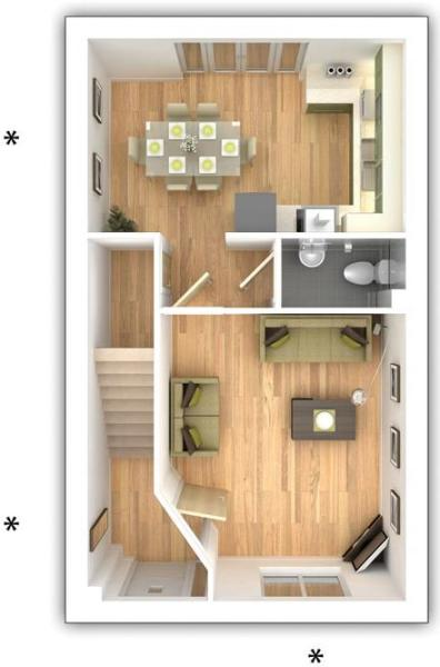 Taylor Wimpey - The Gosford -  3 bedroom ground floor plan