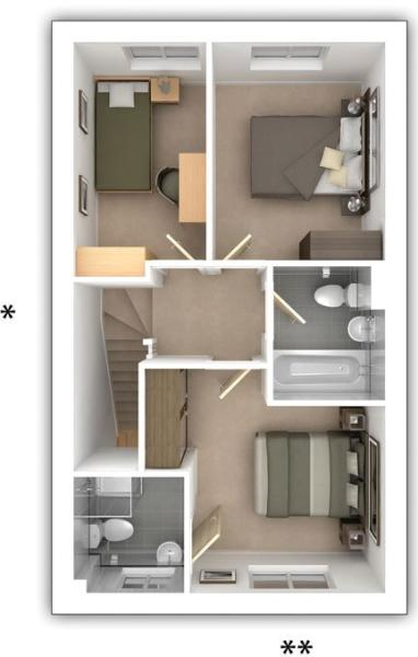 Taylor Wimpey - The Gosford -  3 bedroom first floor plan