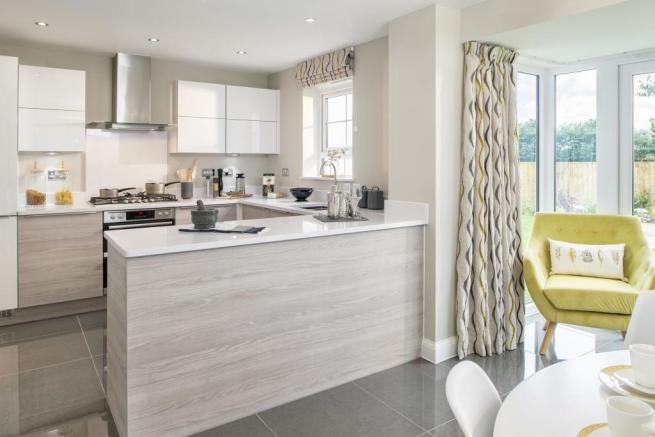 Typical Cambridge fitted kitchen leading to the breakfast and family area