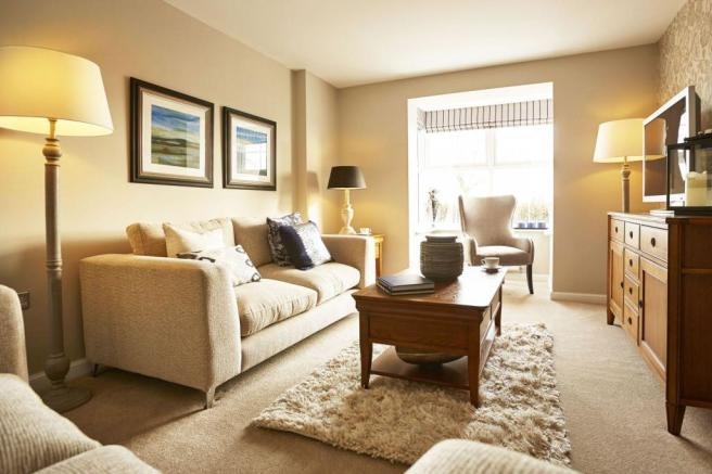 Yarnfield Park Somerfield show home lounge with bay window