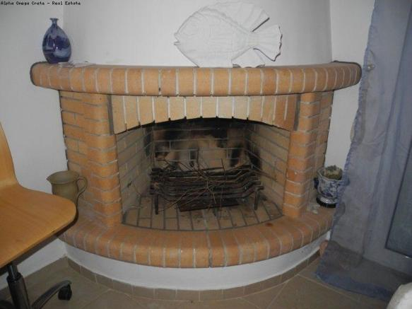 Open log fireplace