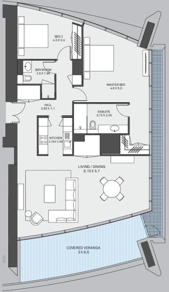 Type B - 2 Bedroom