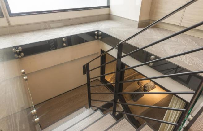 Glass and steel staircase