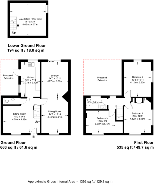 Floor plan showing 3 floors