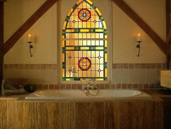 Bathroom with Antique Stain Glass Window