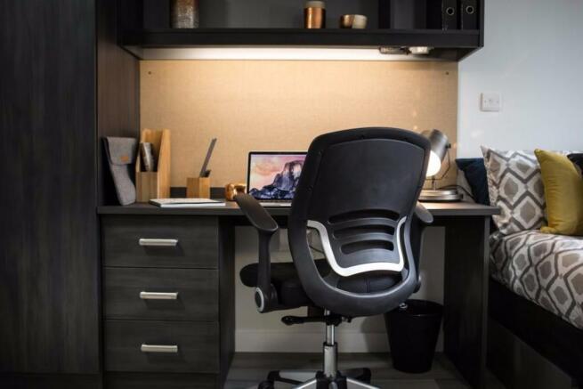 Generous desk spaces