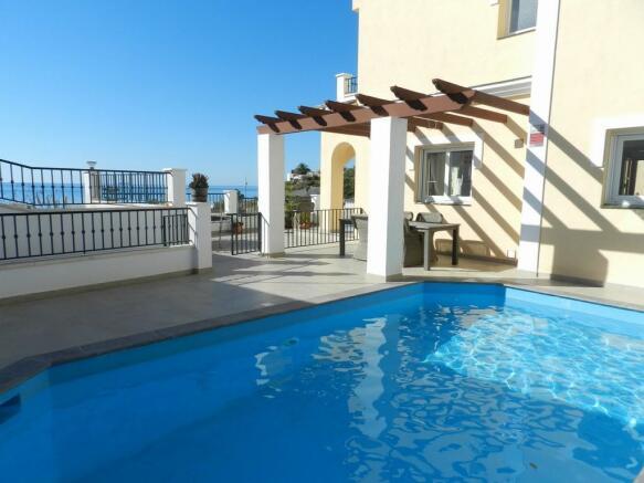 Pool, villa and view