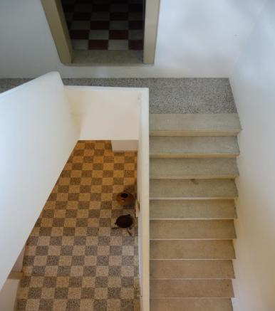 View down the stairs