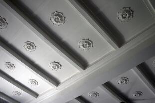 Oak-panelled ceiling