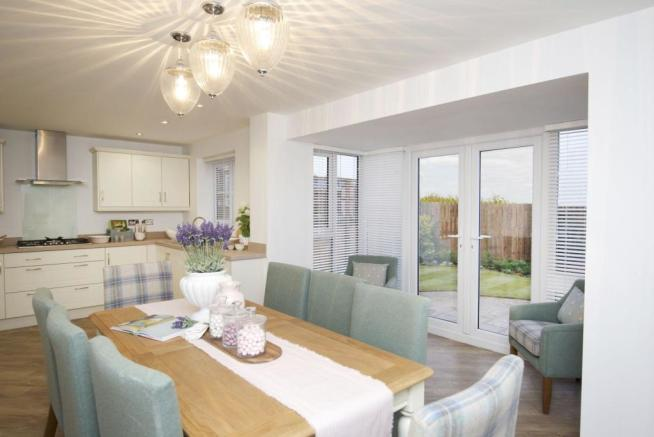 Typical Kennington dining area to the kitchen with glazed bay and French doors