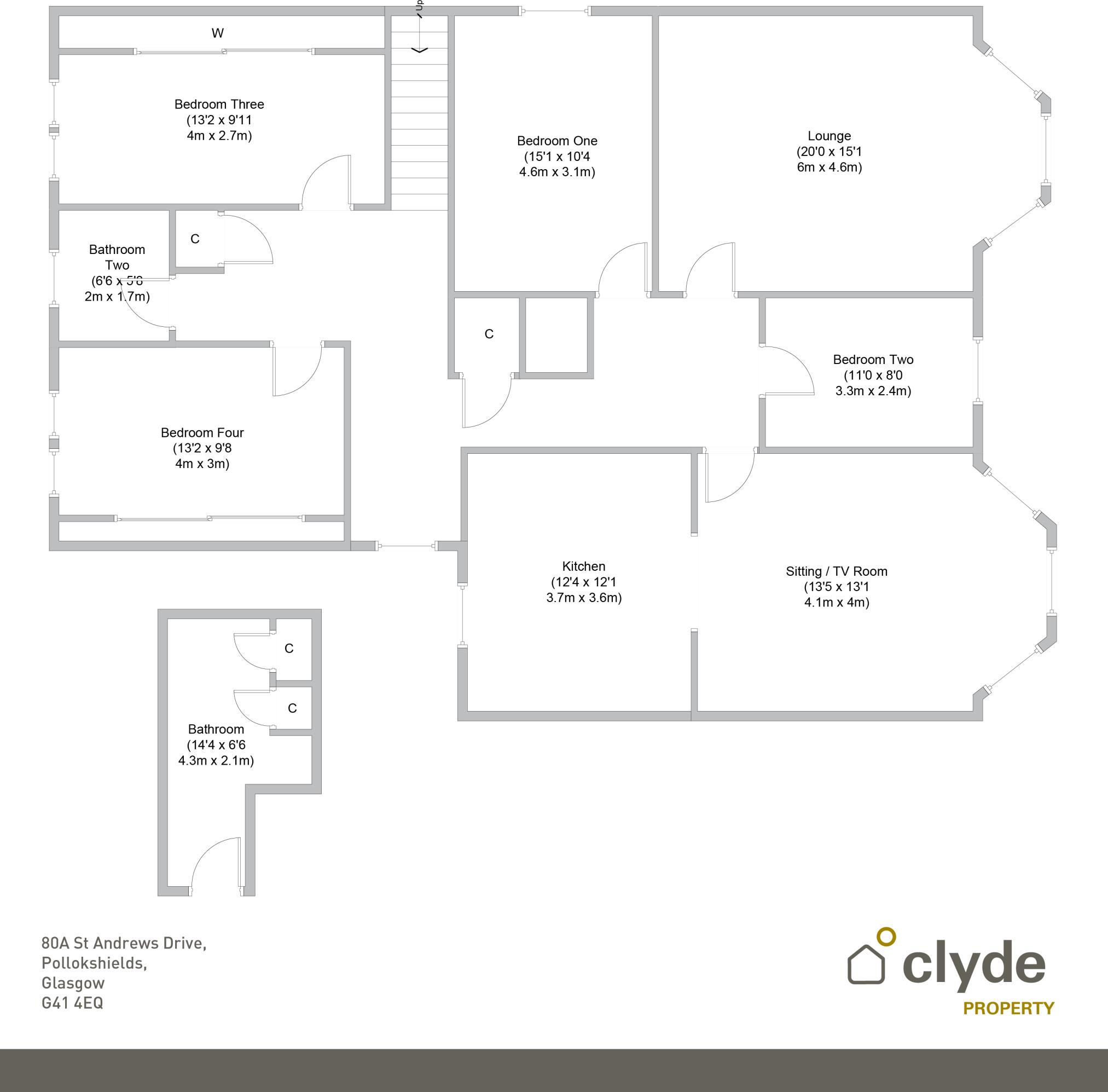 Bathroom Layout 2M X 3M 4 bedroom apartment for sale in st andrews drive , pollokshields