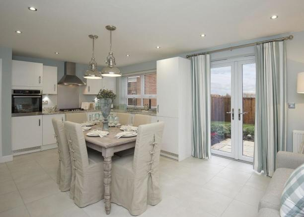 Typical Chesham fitted kitchen with dining and family area as well as French doors