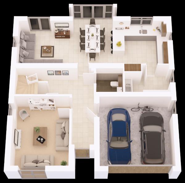 3D floor plan Ground