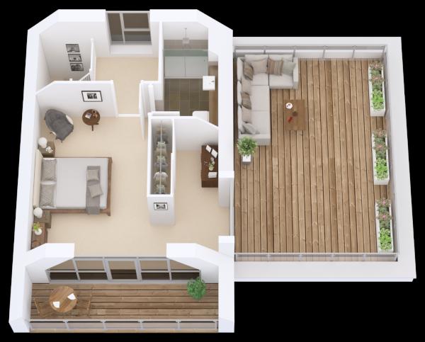 3D floor plan Second