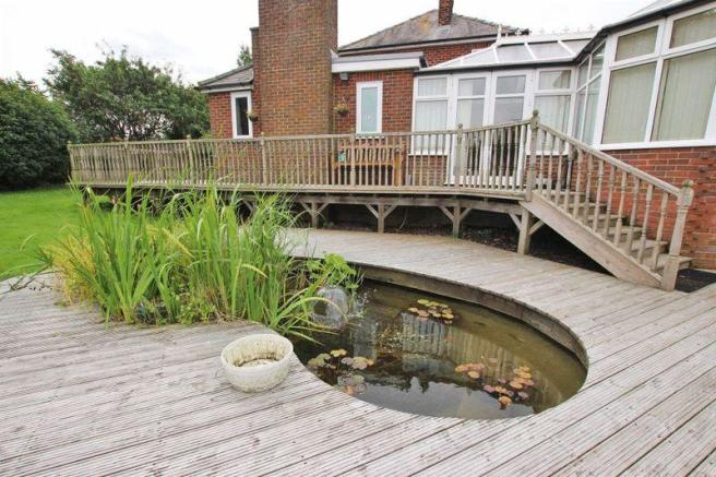 Decking with pond