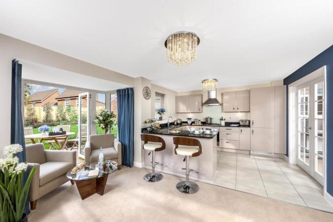 The Harborough kitchen/family room at Bishop Park, Henfield